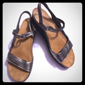 NAOT metallic gray sandals